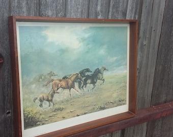 Vintage Horse Print in Old Teak Frame. Running Wild Andrew Alexander.