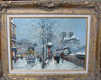 Antoine Blanchard Paris Snow Scene Oil Painting Quai De La Tournelle Notre Dame View Along Seine River