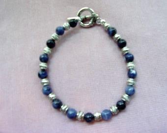 Men's blue Sodalite and pewter bracelet