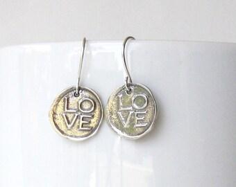 LOVE Earrings, Sterling Silver Charm Earrings, Delicate Earrings Silver, Earrings Handmade Silver, Dangle Earrings, Drop Earrings, Artisan