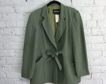 vintage 90's Giorgio Armani blazer / olive green relaxed fit slouchy blazer / minimalist style
