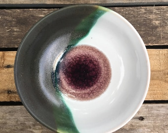 Yin-Yang Ceramic Bowl with Plum Fused Glass Center