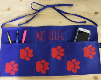 Personalized Paw Print Teacher Apron