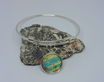 Charm Bracelet, Adjustable Bangle, Starfish Charm, Bangle Bracelet, Silver Charm, Stackable, Dangle Charm Bracelet, Starfish Bracelet