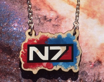 Mass Effect - Seconds - wood Commander Shepard N7 Watercolour necklace - FREE SHIPPING