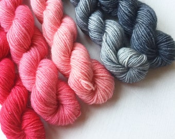 Blue Faced Leicester Sock minis. Pink and grey minis on our Impudent Sock base