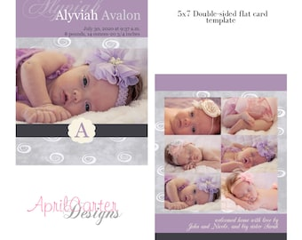 Baby Girl Purple/Grey-Birth Announcement, 5x7 digital card template