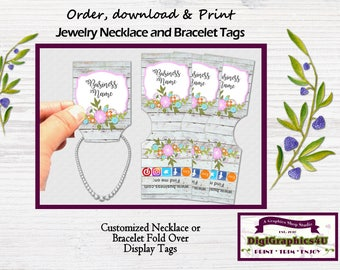 Fold Over Jewelry Display Tags Shabby Chic, Custom Jewelry Tags for Necklace or Bracelet - Printable Digital File