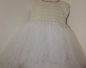 Off white and silver shimmer tutu dress