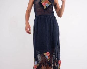 Crochet dress Crochet navy dress maxi sundress Crochet blue lacy sundress blue linen sundress Crochet Beachwear dress evening floor gown