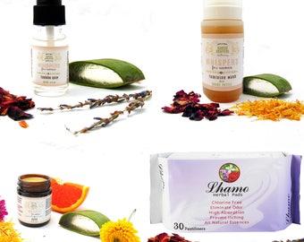 Super Charged Feminine Care Set, Vaginal Cleanser, Intimate Cleanser, Yoni Care, Vaginal Cream, Feminine Spray, Herbal Pantyliners