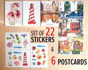 Watercolor stickers matte Postcrossing Decorative floral stickers Lighthouse postcard stickers set Lot of stickers Fruit Flower stickers