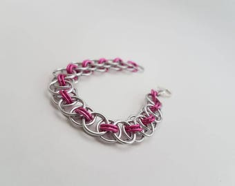Pink Handmade Helm Weave Chainmaille - Women's Small Bracelet