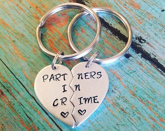 Custom handstamped best friend keychain set, partners in crime stamped Keychains, broken heart jewelry, split heart keychains, bff gift
