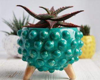 Blue Ceramic Planter Gift - Succulent Planter - Modern planter with legs - Plant Holder - Plant Pot - Modern succulent pot - Indoor planter
