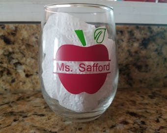 Apple with teacher name