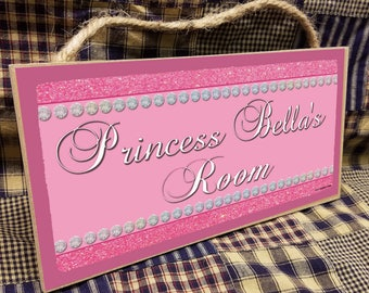 """Personalized """"Your Name"""" Glitter Princess Pink Kids Room  5"""" x 10"""" SIGN Plaque  Decor Customized Custom"""