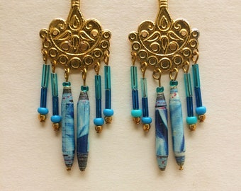 Boho paper raindrop earrings