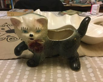 Vintage forties fifties cat kitty kitten planter vase kitsch