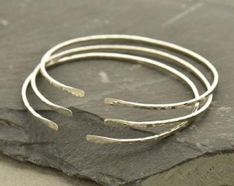 Thin Bangle Adjustable Skinny Bracelet Sterling Silver Hammered Finish Open Bangle Jewellery UK Seller Minimalist Stackable 0123