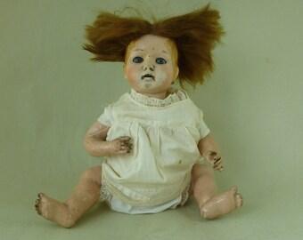 German M&S Marked Composition Pot Head Doll Blue Sleep Eyes Bent Limb Vintage