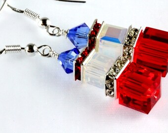 Patriotic Crystal Cube Earrings, Patriotic Swarovski Earrings, Patriotic Earrings, Stacked Cubes, Fourth of July, Memorial Day