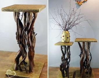 Stand made of natural wooden trunks, for flowers and plants