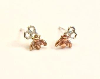 Bee earrings, bumblebee earrings, honeycomb earrings, silver hexagon earrings, honeybee earrings, bee jewelry, geometric jewellery, bee gift
