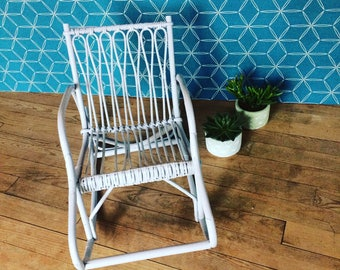 Rocking chair revamped vintage rattan for children. french vintage. 1950's.