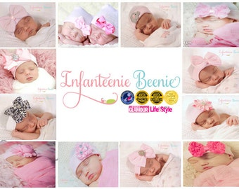 Choose one of the shown newborn hospital hats for a baby girl by Infanteenie Beenie perfect baby shower gift for baby girl