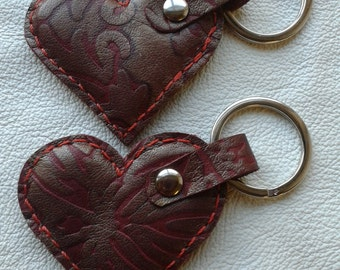 Handmade Leather Heart Key Ring