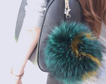 Real fur Bag charm, fur keychain, fur pom pom, pom pom keychain, pompom keychain, fur ball, pom pom keychains