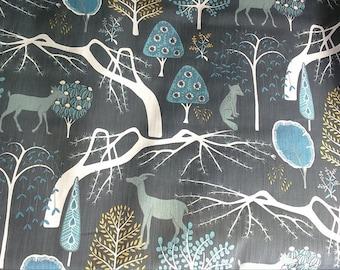 Tablecloth grey blue mustard Trees Forest wild animals Modern Scandinavian Design , napkins , runner , curtains , pillow covers , great GIFT