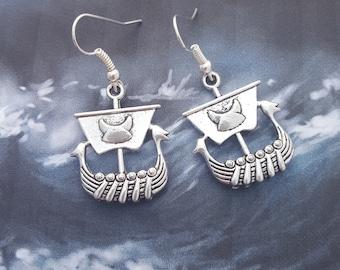 Viking Ship Earrings, Viking Boat Earrings, Geeky Earrings, Viking Earrings, Norse Jewelry, Viking Jewellery, Viking Longboat, Norse Myth