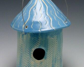 Handmade Ceramic Birdhouse in Medium Blue with Playful Design/Ceramics and Pottery