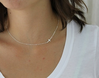Sideways Cross Necklace, Gold Cross Necklace, Sideways Necklace, Dainty Cross Necklace, Cross Necklace Women, Perfect to Layer