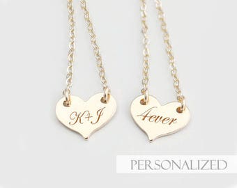 Small Heart Necklace - Delicate Engraved Heart Tag Necklace, Personalized Heart Necklace in Gold Fill, Birthday Christmas gift for her mom