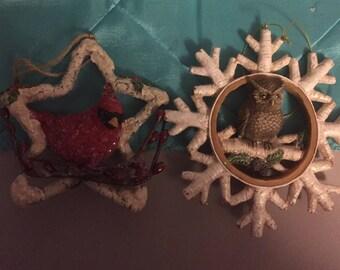 Owl and Cardinal Ornament