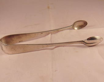 Large Antique Rat Tail Sugar Tongs with Military Crest by Thomas Bradbury