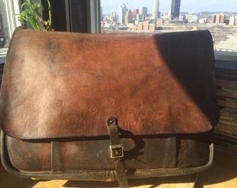 Vintage Rare XL USPS Leather Postal Mail Bag Saddlebag Messenger