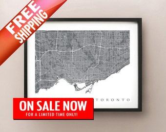 FREE SHIPPING Toronto Map Print