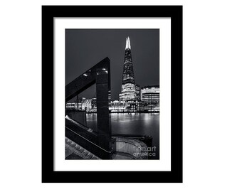 Print / Canvas The Shard across the Thames westminster britain landscape architecture city night british travel black glass art gift present