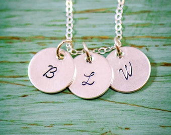 Sterling Silver Initial Charm Necklace • Dainty Initial • Small Initial Tiny Disc Initial Jewelry Initial Tag Minimal Initial