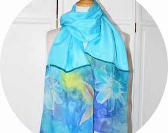 Scarf in turquoise blue silk, blue silk chiffon shawl, scarf in turquoise blue silk and velvet uban