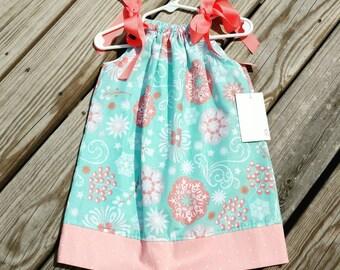 Girls Spring Dress - Pillowcase Dress - Aqua and Coral Dress -  Toddler Girl Dress  - Beach Dress -  Sundress - Groovy Gurlz