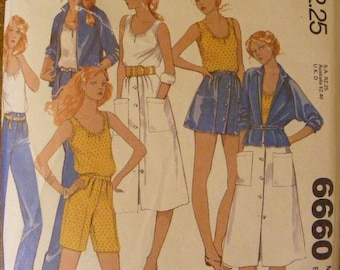 """51% OFF 1970's Vintage Jacket top Skirt Pants Shorts McCall's Sewing Pattern 6660 Size 16 Bust 38"""""""
