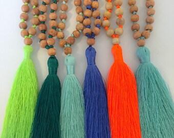 Tassel Mala Wood Bead Necklace