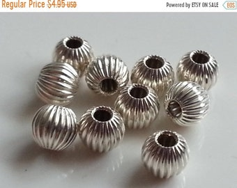 SAVE 20% 10 Pieces Sterling Silver 925 Corrugated Beads 4mm