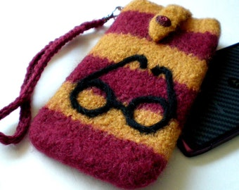 Smartphone Case Felted Wool Wristlet (to fit IPhone, Droid, Samsung, LG, etc. )  Harry P. Case - Made to order