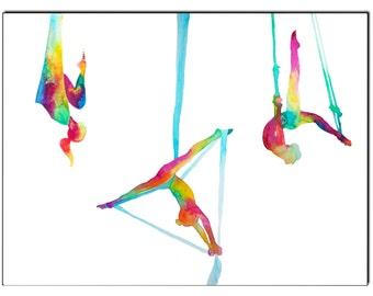 The melting pot-Aerial yoga silks - Fine Art Giclee Print watercolor painting - Yoga gift